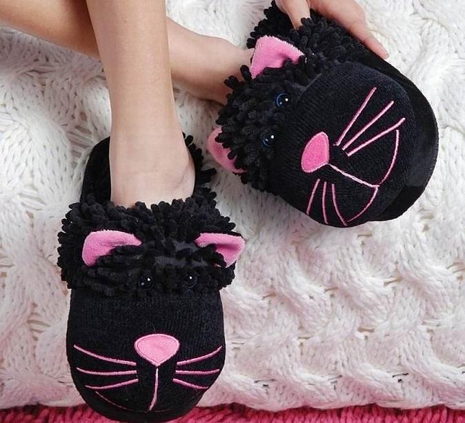 Тапочки fuzzy friends черные кошки