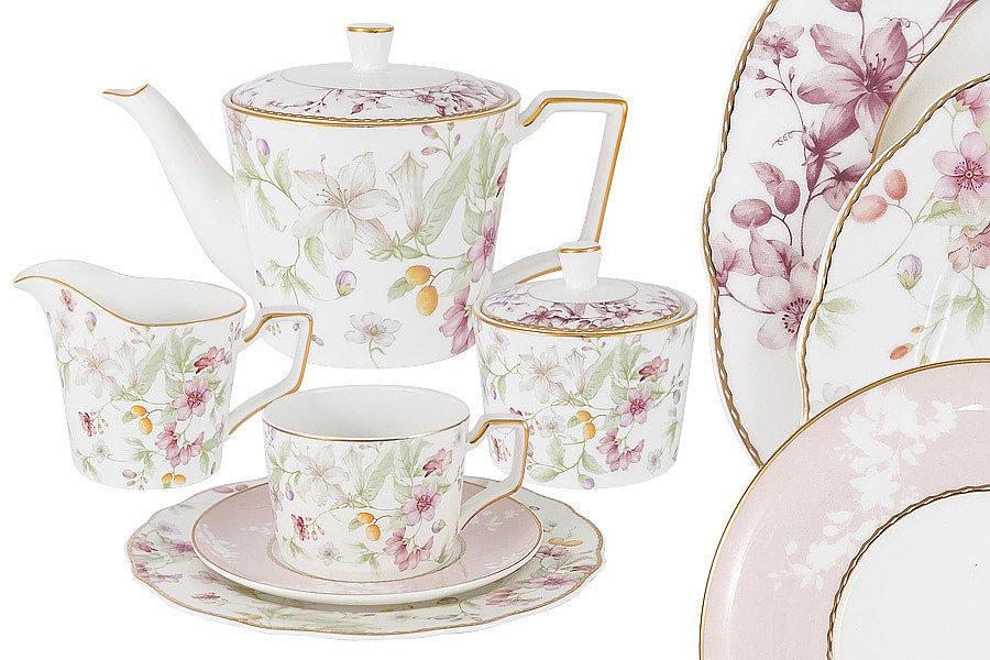 Чайный сервиз на 6 персон Цветы, 21 предмет Emily
